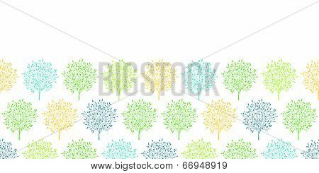 Summer trees colorful horizontal seamless pattern background