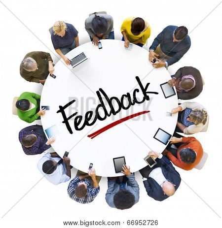 Multiethnic Group of People with Feedback Concept poster