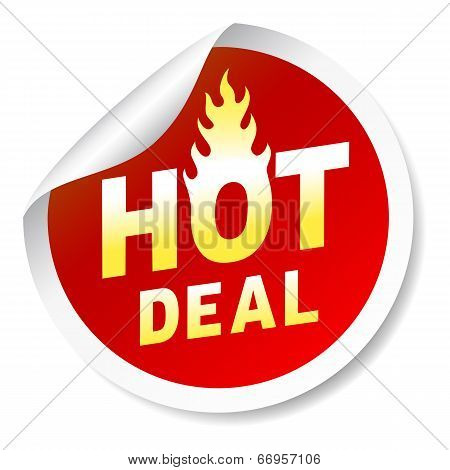 Hot deal sticker badge with flame