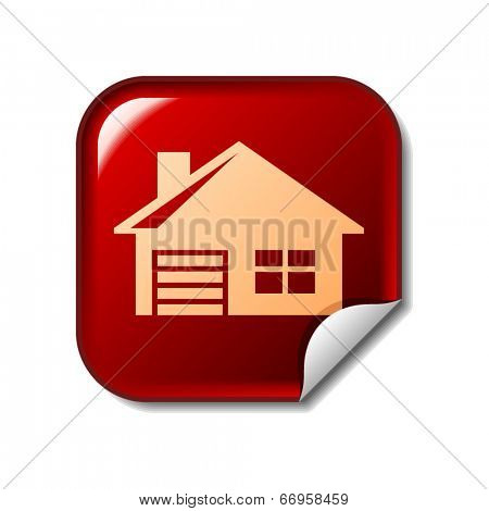 House icon on red web sticker