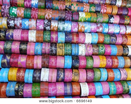 Colored bracelets for sale, Bangkok, Thailand.