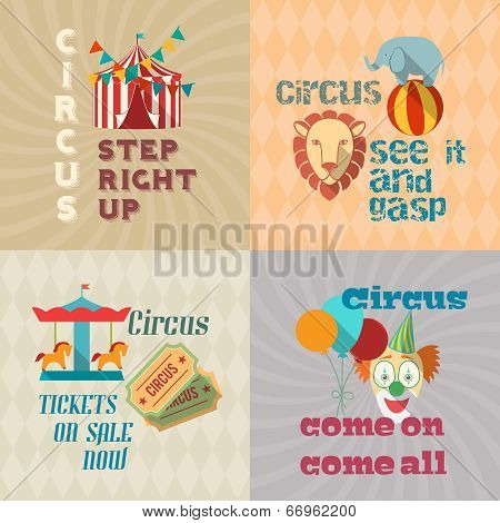 Circus vintage flat pictograms composition