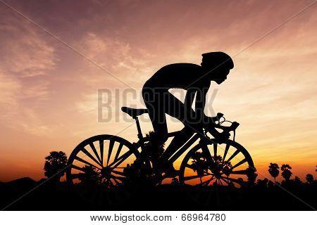 Cycling Triathlon On Twilight Time