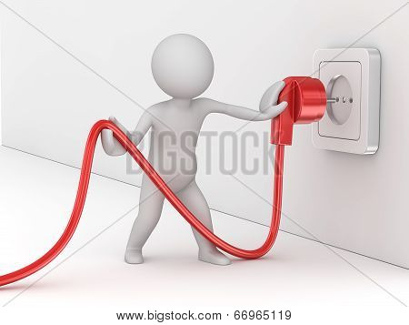 Man Holding Electric Cable
