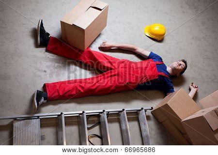Storekeeper Lying On The Floor