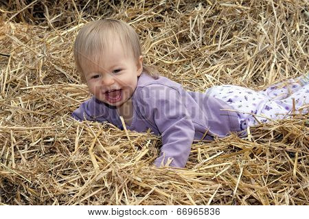 Small Child Laughing In A Pile Of Straw