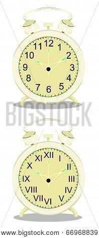 Old alarm clocks vector