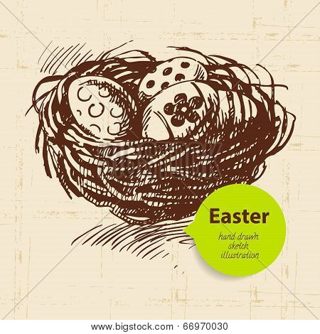 Vintage Easter Background With Hand Drawn Sketch Illustration
