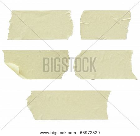 Set Of Torn Masking Tape Isolated On White