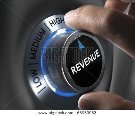 finger turning a revenue button to the highest position. Concept illustration of financial profits. poster