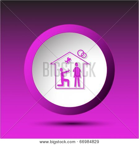 Home affiance. Plastic button. Vector illustration.