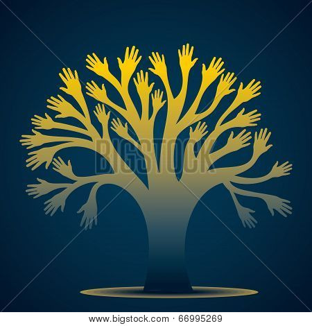 hand tree background vector