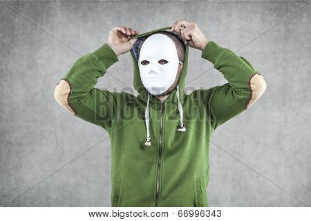 hooligan in the mask, man wearing a hood poster