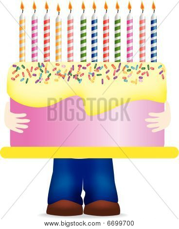 Birthday Cake Holding