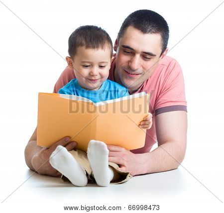 Dad Reading A Book To Kid