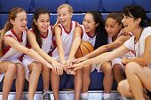 Coach Of Female High School Basketball Team Gives Team Talk poster