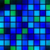 Digitally created stained glass blue aqua bathroom tile pattern. poster