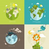 Ecology Concept Vector Icons Set for Environment, Green Energy and Nature Pollution Designs. Flat Style. poster