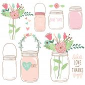Hand Draw Wedding flower Mason Jar poster