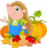 Cute hedgehog with harvest of vegetables. Raster version.   poster