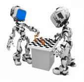 Small 3d robotic figures playing chess over white isolated poster