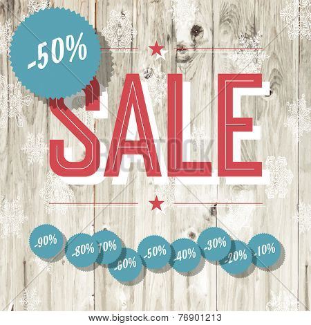 Sale retro poster. Template with wooden texture and different discount tags