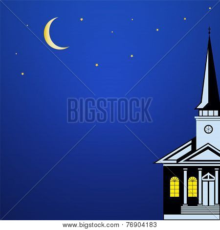 Christmas Landscape With Church Spire,  Moon And Stars