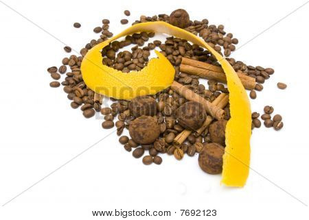 Citrus Peel And Coffee Beans On White