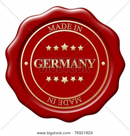 Illustration Of Made In Germany Wax Seal On White Background