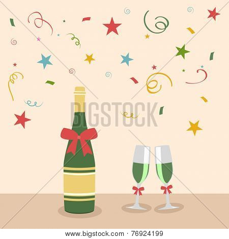 Celebration of Happy New Year with alcohol bottle and glass on stylish background.  poster