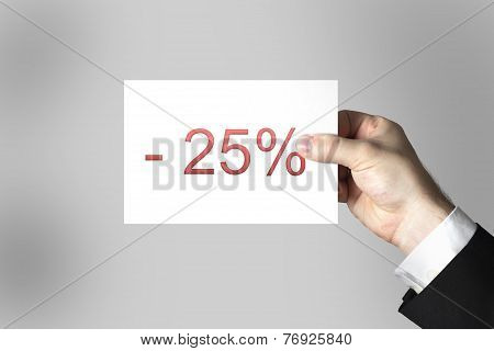 Hand Holding Card Twentyfive Percent Off