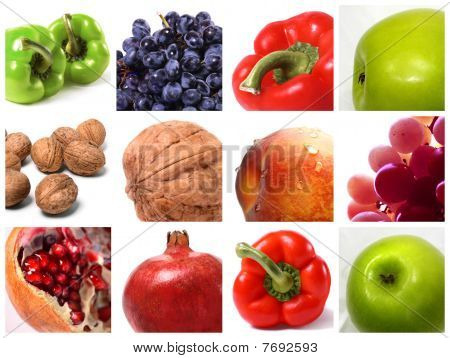 Set Of Fruits, Vegetables, Walnuts And Grape