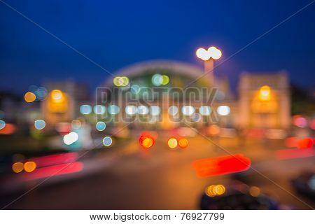 Out of focus Bangkok city lights, at night
