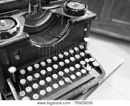 Ancient Black Rusty Typewriter Used By Typists