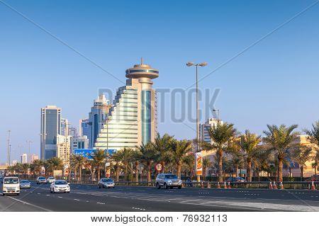 Street View Of Manama City,capital Of Bahrain Kingdom