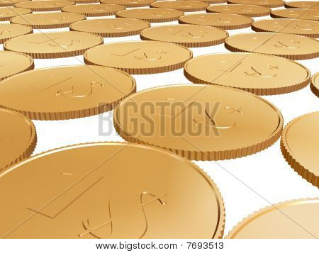 Gold 1$ Coin Carpet On White