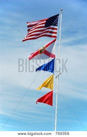 USA, Florida and maritime flags
