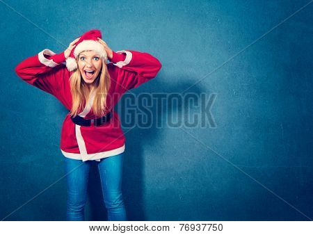 Santa girl is stressed