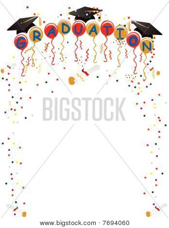 Graduation Ballons  and confetti for celebration illustration