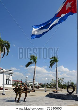Changing the guard at the tomb of Jose Marti in Santiago de Cuba