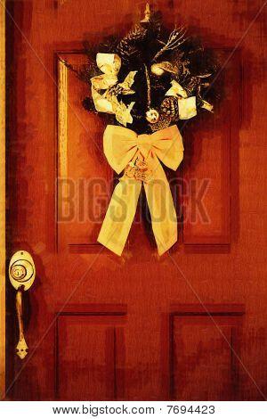 Stock Illustration Of Christmas Door
