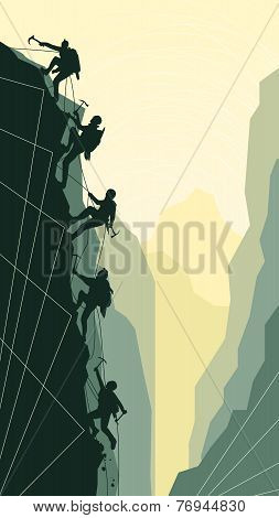 Vertical Illustration Of Alpinists.