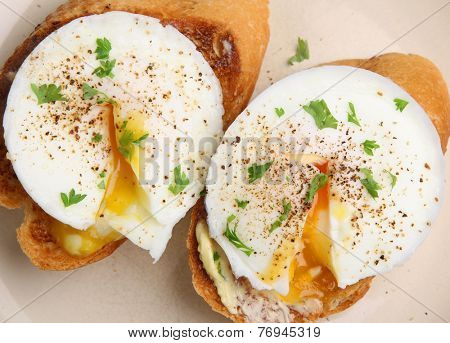 Poached eggs on toast viewed from above.