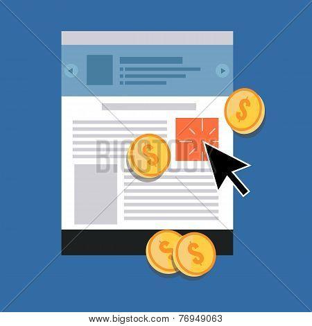 Pay Per Click Concept. Flat Design Stylish.