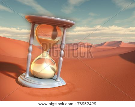 Hourglass in a sand desert. Digital illustration.