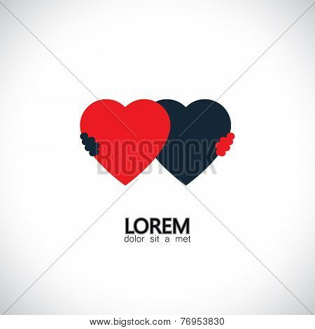 Abstract Friendship Concept Vector Icon Of Love Of Hearts