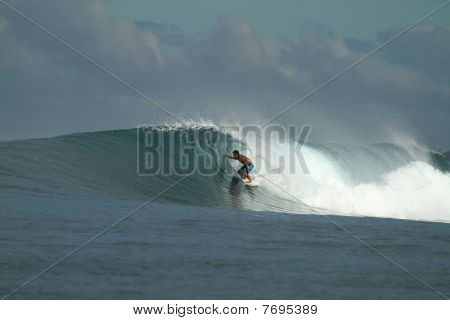 Surfer On Wave, Mentawai Islands Indonesia