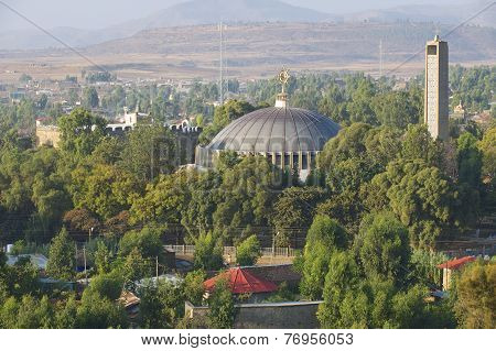 Dome and bell tower of the Church of Our Lady Mary of Zion, Aksum, Ethiopia.