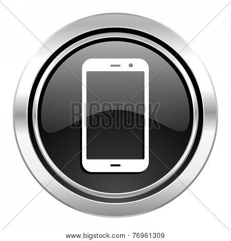 smartphone icon, black chrome button, phone sign  poster