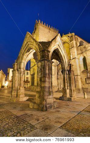 Ancient monument ( Padrao do Salado ) in the center of Guimaraes city, Portugal